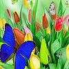 Colorful butterflies in garden puzzle